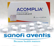 Sanofi-Aventis logo and Accomplia package, pills