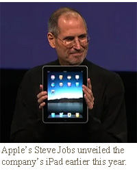 Apple's Steve Jobs unveiled the company's iPad earlier this year.