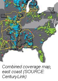 CenturyLink combined coverage map
