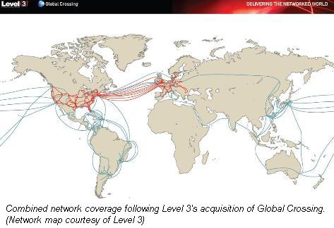Level 3 Global Crossing network map