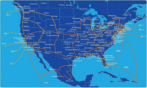 Telepacific network map