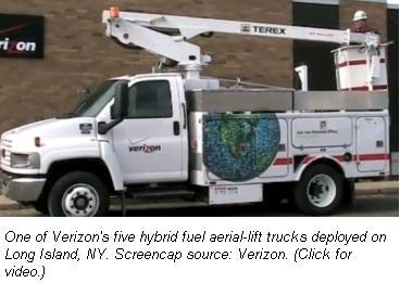 Verizon hybrid bucket truck