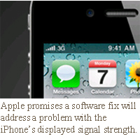 Apple promises a software fix will address a problem with the iPhone's displayed signal strength.