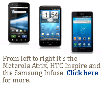 From left to right it's the Motorola Atrix, HTC Inspire and the Samsung Infuse.