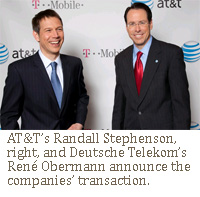 AT&T's Randall Stephenson, right, and Deutsche Telekom's René Obermann announce the companies' transaction.
