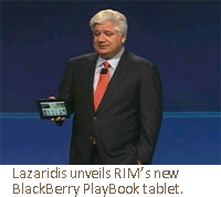 Lazaridis unveils RIM's new BlackBerry PlayBook tablet.