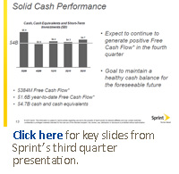 Click here for key slides from Sprint's third quarter presentation.