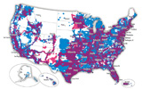 Coverage map of AT&T and T-Mobile combined