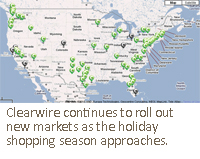 Clearwire continues to roll out new markets as the holiday shopping season approaches.