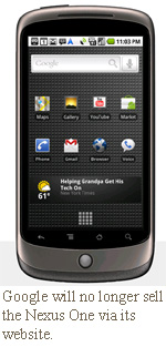 Google will no longer sell the Nexus One via its website.