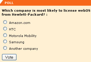 Which company is most likely to license webOS from Hewlett-Packard? -