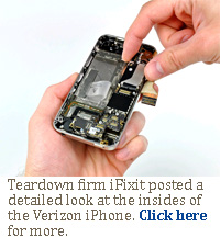 Teardown firm iFixit posted a detailed look at the insides of the Verizon iPhone. Click here for more.