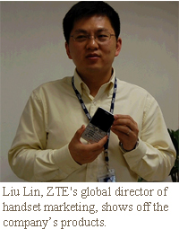 Liu Lin, ZTE's global director of handset marketing, shows off the company's products.
