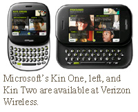 Microsoft's Kin One, left, and Kin Two are available at Verizon Wireless.