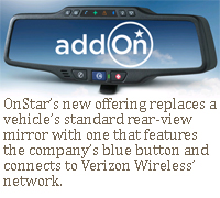 OnStar's new offering replaces a vehicle's standard rear-view mirror with one that features the company's blue button and connects to Verizon Wireless' network.