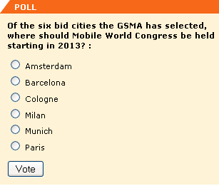 Of the six bid cities the GSMA has selected, where should Mobile World Congress be held starting in 2013?