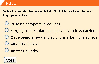 What should be new RIM CEO Thorsten Heins' top priority?