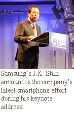 Samsung's J.K. Shin announces the company's latest smartphone effort during his keynote address.