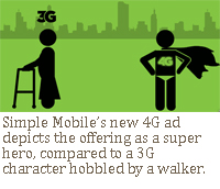 Simple Mobile's new 4G ad depicts the offering as a super hero, compared to a 3G character hobbled by a walker.