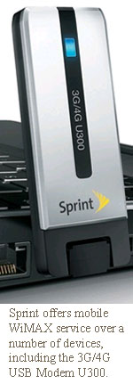 Sprint offers mobile WiMAX service over a number of devices, including the 3G/4G USB Modem U300.