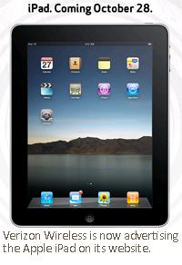 Verizon Wireless is now advertising the Apple iPad on its website.
