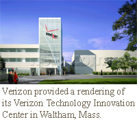 Verizon provided a rendering of its Verizon Technology Innovation Center in Waltham, Mass.