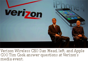 Verizon Wireless CEO Dan Mead and Apple COO Tim Cook answer questions at Verizon's media event.