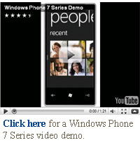 Windows Phone 7 Series video demo