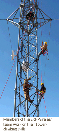 Members of the ERF Wireless team work on their tower-climbing skills.