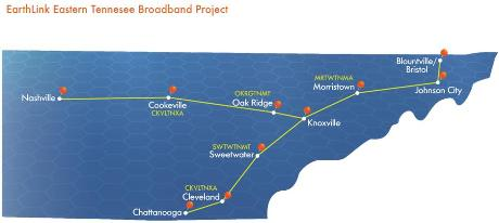 Earthlink East Tennessee Broadband Project map